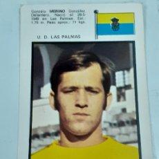 Coleccionismo Cromos antiguos: CROMO GONZALO MERINO GONZÁLEZ- DELANTERO -U.D. LAS PALMAS- SIN USAR/EDITORIAL FHER 1971 (2448). Lote 213316426