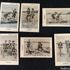 Coleccionismo Cromos antiguos: COLECCION COMPLETA 6 FOTOTIPIAS, CICLISTAS.. Lote 213609663