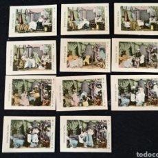 Coleccionismo Cromos antiguos: FABRICA DE CIGARRILLOS STO. ANTONIO. FOTOTIPIAS, TRISTE REALIDADE, COMPLETO 11 CROMOS. Lote 213611407