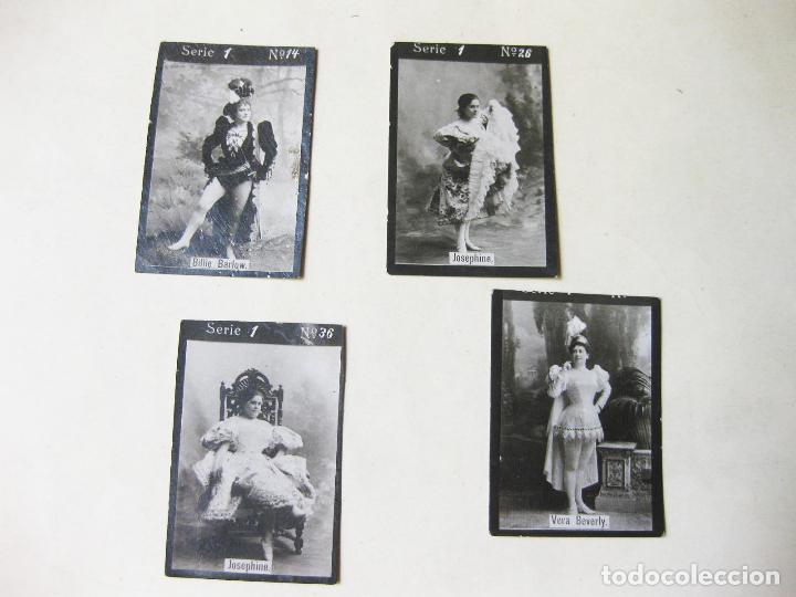 4 CROMO FOTOGRÁFICOS DE LA SERIE 1 DE PAPEL DE FUMAR O CAJA DE CERILLAS. ACTRICES (Coleccionismo - Cromos y Álbumes - Cromos Antiguos)
