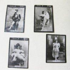 Coleccionismo Cromos antiguos: 4 CROMO FOTOGRÁFICOS DE LA SERIE 1 DE PAPEL DE FUMAR O CAJA DE CERILLAS. ACTRICES. Lote 214296488