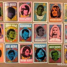 Coleccionismo Cromos antiguos: LOTE 18 CROMOS ANTIGUA COLECCIÓN CANTANTES; MICK JAGGER, BRIAN JONES, SERRAT, MIGUEL RÍOS, JOAN BAEZ. Lote 215898902