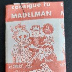 Coleccionismo Cromos antiguos: SOBRE DE CROMOS MONSTRUOS DIABOLICOS CONSIGUE TU MADELMAN MACABRO ORGINAL. Lote 266191648