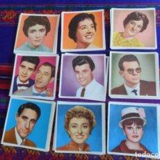 Coleccionismo Cromos antiguos: LOTE 67 CROMO NUNCA PEGADO FAMOSOS DE LA CANCIÓN RADIO Y TELEVISIÓN. BRUGUERA. MBE. TAMBIÉN SUELTOS.. Lote 218729167