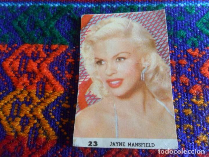 CROMO NUNCA PEGADO ACTORES ACTRICES JAYNE MANSFIELD Nº 23. AÑOS 60 RARO. 5X3,3 CMS. RARO. (Coleccionismo - Cromos y Álbumes - Cromos Antiguos)