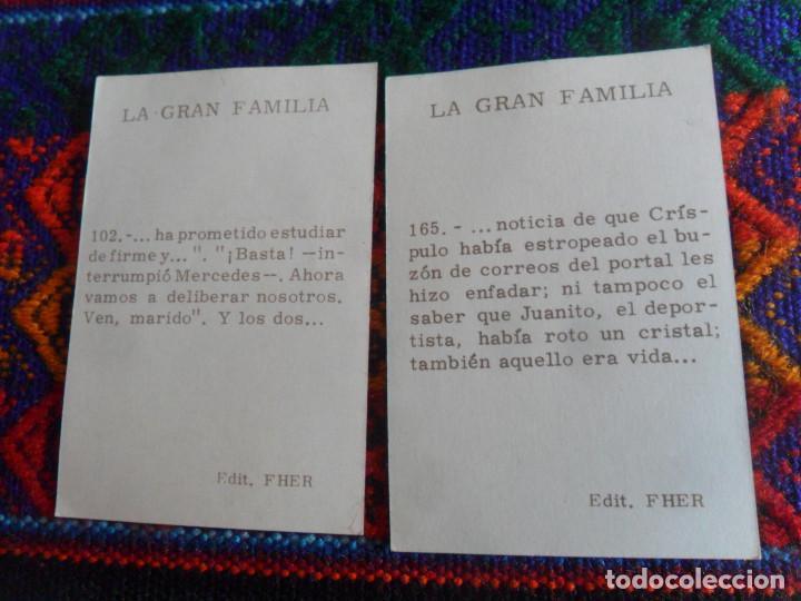 Coleccionismo Cromos antiguos: CROMO NUNCA PEGADO NUEVO LA GRAN FAMILIA NºS 102 Y 165. FHER AÑOS 60. MUY RAROS. - Foto 2 - 218732322