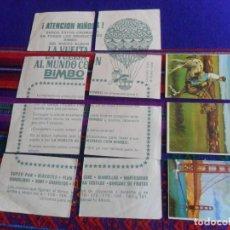 Coleccionismo Cromos antiguos: FLYER CON 8 CROMOS LA VUELTA AL MUNDO CON BIMBO. DE REGALO NºS 32 33 87. AÑOS 60. RARO.. Lote 218758621