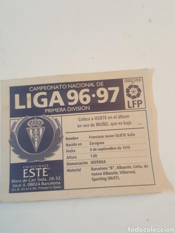 Coleccionismo Cromos antiguos: Cromo Liga 96-97 Este coloca Oliete Sporting de Gijon - Foto 2 - 221511105