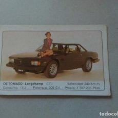 Coleccionismo Cromos antiguos: Nº 44 DE TOMASO LONGCHAMP - CROMO MOTOR COLECCIÓN COCHES 1986 EDICIONES UNIDAS S.A.. Lote 221844315