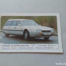 Coleccionismo Cromos antiguos: Nº 39 CITROEN CX 25 RD TURBO FAM. - CROMO MOTOR COLECCIÓN COCHES 1986 EDICIONES UNIDAS S.A.. Lote 221845761