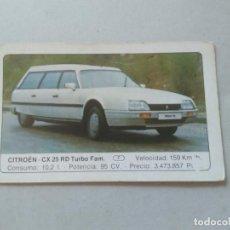 Coleccionismo Cromos antiguos: Nº 39 CITROEN CX 25 RD TURBO FAM. - CROMO MOTOR COLECCIÓN COCHES 1986 EDICIONES UNIDAS S.A.. Lote 221845861