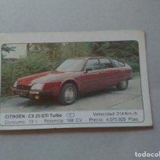 Coleccionismo Cromos antiguos: Nº 38 CITROEN CX 25 GTI TURBO - CROMO MOTOR COLECCIÓN COCHES 1986 EDICIONES UNIDAS S.A.. Lote 221846678