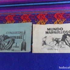 Coleccionismo Cromos antiguos: SOBRE VACÍO MUNDO MARAVILLOSO DE FERMA 1965. REGALO CONQUISTAS DEL HOMBRE DE FERMA 1964.. Lote 222468350