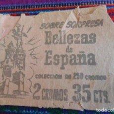 Coleccionismo Cromos antiguos: SOBRE VACÍO BELLEZAS DE ESPAÑA. BRUGUERA 1958. REGALO MUNDO SUBMARINO PRODUCCIONES EDITORIALES. RARO. Lote 222472787