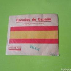 Coleccionismo Cromos antiguos: ESCUDOS DE ESPAÑA CROMO SOBRE SIN ABRIR (ORENSE) MUY RARA COLECCIÓN. Lote 223974660