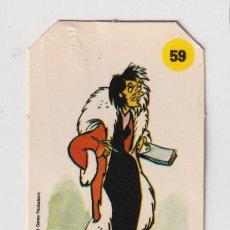 Coleccionismo Cromos antiguos: CROMO BIMBO PANRICO PLASTICROMO N°59 CRUELLA VILLE LOS AMIGOS MICKEY 1979 SERIE CORTADO PARTE ALTA. Lote 224956525