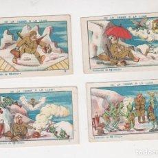 Coleccionismo Cromos antiguos: LOTE DE 4 CROMOS COLECCION DE LA TIERRA A LA LUNA CHOCOLATE JUNCOSA VER RELACION. Lote 228122575