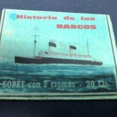 Coleccionismo Cromos antiguos: SOBRE SIN CROMOS HISTORIA DE LOS BARCOS. Lote 228321115