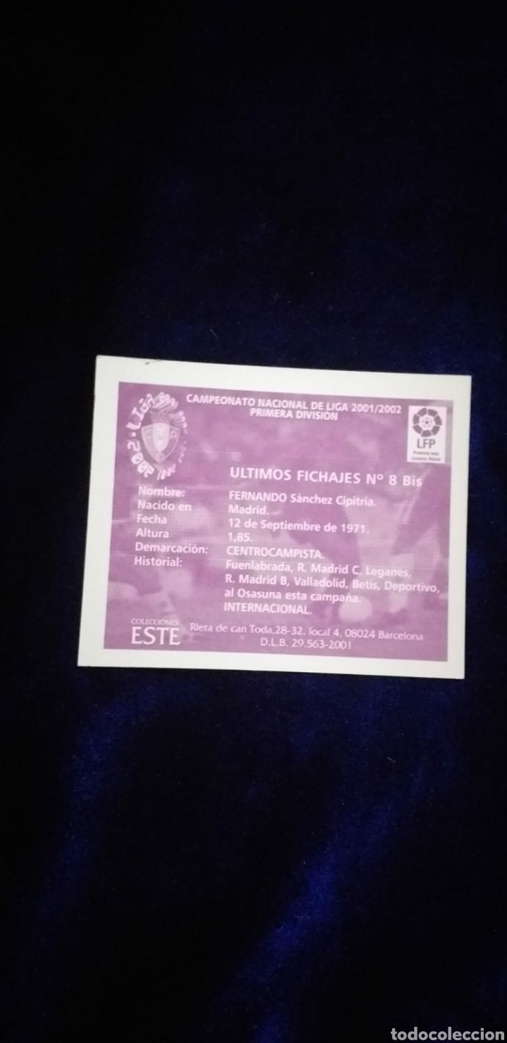 Coleccionismo Cromos antiguos: Cromo liga 01-02 fichaje 8 bis Fernando Sin pegar 2001-2002 - Foto 2 - 234784945