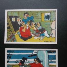 Coleccionismo Cromos antiguos: MICKEY MOUSE EL RATON AVENTURERO, 2 CROMOS, CHOCOLATES NOGUEROLES. Lote 236112510
