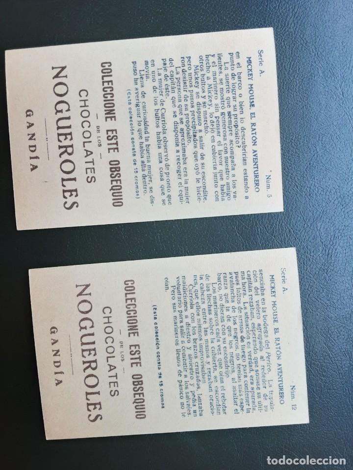 Coleccionismo Cromos antiguos: MICKEY MOUSE EL RATON AVENTURERO, 2 CROMOS, CHOCOLATES NOGUEROLES - Foto 2 - 236112510
