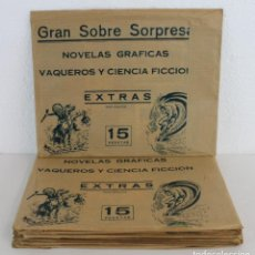 Coleccionismo Cromos antiguos: LOTE 9 SOBRES SORPRESA NOVELAS GRÁFICAS VAQUEROS Y CIENCIA FICCIÓN EXTRAS (PARA ADULTOS) AÑO 1974. Lote 236135525