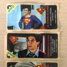 Coleccionismo Cromos antiguos: LOTE 3 PEGATINAS SUPERMAN DE CHICLE SONRICS AÑO 1995 SIN USAR DC COMICS CROMO SONRIC'S. Lote 239911195