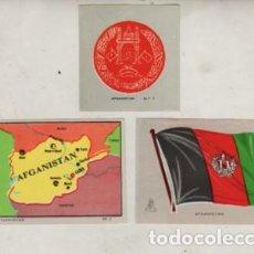 Coleccionismo Cromos antiguos: LOTE DE TRES CROMOS - MAPA ESCUDO Y BANDERA DE AFGANISTAN. Lote 244712505