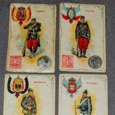 Coleccionismo Cromos antiguos: LOTE 30 CROMOS - UNIFORME MILITAR-MONEDA-SELLO-BANDERA DE 30 PAISES - AÑO 1900. Lote 253756325