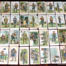 Coleccionismo Cromos antiguos: 35 CROMOS DE BOY SCOUTS, CON PUBLICIDAD DE AGUSTINOS COMPAÑIA NACIONAL, MADRID, MIDEN 6,5 X 3,5 CMS,. Lote 254687310