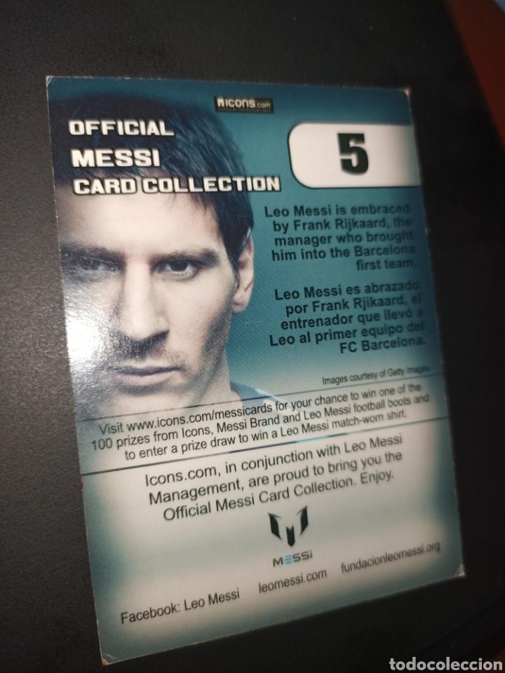 Coleccionismo Cromos antiguos: Cromo num 5 oficial Messi CARD COLLETION editorial ICONS - Foto 2 - 260065100