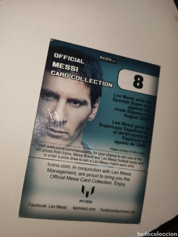 Coleccionismo Cromos antiguos: Cromo num 8 oficial Messi CARD COLLETION editorial ICONS - Foto 2 - 260065915