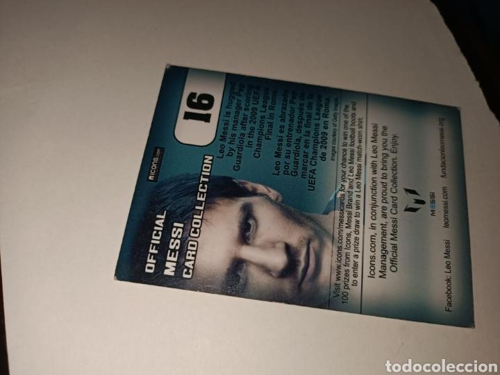 Coleccionismo Cromos antiguos: Cromo num 16 Messi oficial CARD COLLETION editorial ICONS - Foto 2 - 260066130