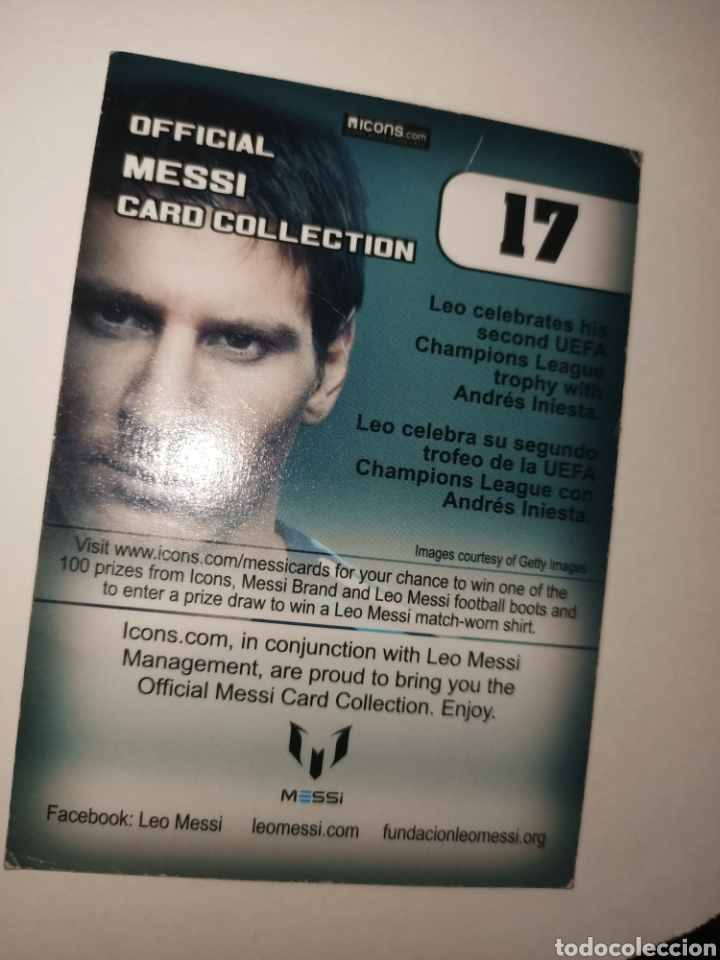 Coleccionismo Cromos antiguos: Cromo num 17 oficial Messi CARD COLLETION editorial ICONS - Foto 2 - 260066345