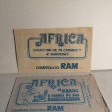 Coleccionismo Cromos antiguos: DOS SOBRES SIN ABRIR AFRICA EL MUNDO A TRAVÉS DE SUS CONTINENTES. DOS TONALIDADES. Lote 267461139