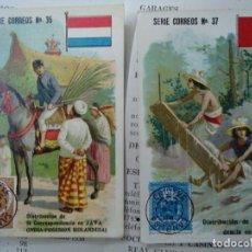 Coleccionismo Cromos antiguos: 2 CROMOS DE CHOCOLATES GENERO FERNANDEZ LA CORUÑA SERIE CORREOS Nº 35 Y 37 SON LOS NÚMERO 35 Y 37. Lote 267783039