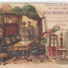 Coleccionismo Cromos antiguos: CÁDIZ. FABRICA DE MUEBLES MATIAS RODRIGUEZ. ANTIGUO CROMO LITOGRAFIADO. FINALES DEL SIGLO XIX. Lote 269297323