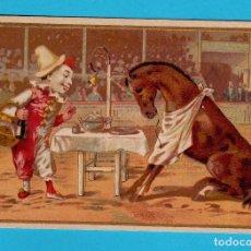 Coleccionismo Cromos antiguos: CROMO CIRCO. CON PAYASO Y CABALLO. SIN PUBLICIDAD.. Lote 269390628