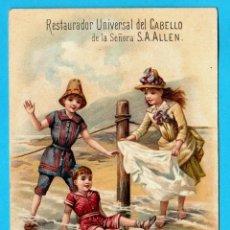 Coleccionismo Cromos antiguos: CROMO NIÑOS EN LA PLAYA. PUBLICIDAD, DEL RESTAURADOR UNIVERSAL DEL CABELLO DE LA SEÑORA ALLEN. Lote 269392453
