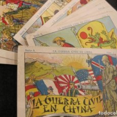 Coleccionismo Cromos antiguos: LA GUERRA CIVIL EN CHINA-COLECCION COMPLETA 18 CROMOS-CHOCOLATE JUNCOSA-VER FOTOS-(CR-2631). Lote 270645728