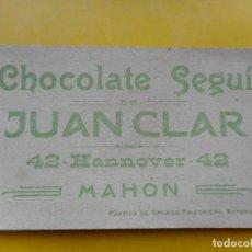 Coleccionismo Cromos antiguos: ANTIGUO CROMO TIPO ESTAMPA RELIGIOSA.CHOCOLATE SEGUI.JUAN CLAR. MAHON.BALEARES. Lote 271700393