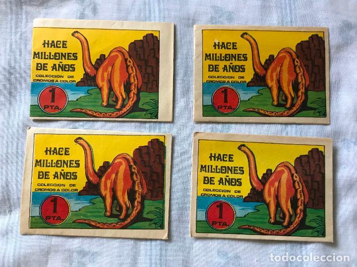 Coleccionismo Cromos antiguos: 4 sobres sin abrir del álbum Hace Millones de Año 1970, ED. RUIZ ROMERO. - Foto 2 - 272169948