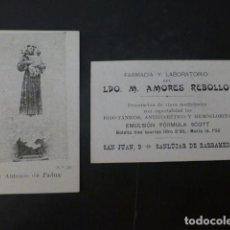 Coleccionismo Cromos antiguos: SAN ANTONIO DE PADUA CROMO PUBLICITARIO FARMACIA AMPRES REBOLLO SANLUCAR DE BARRAMEDA CADIZ 1900. Lote 275770668