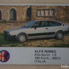 Coleccionismo Cromos antiguos: CROMO DE COCHES ALFA ROMEO SIN PEGAR Nº 2 AÑO 1986 DEL ALBUM AUTO 2000 DE COMIC-ROMO COMICROMO. Lote 278693558