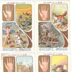 Coleccionismo Cromos antiguos: SERIE COMPLETA DE 20 CROMOS LOS SIGNOS DE LA MANO. CHOCOLATES AMATLLER.. Lote 279407743