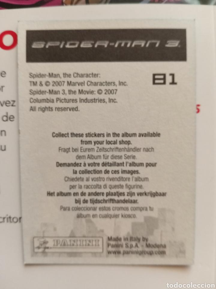 Coleccionismo Cromos antiguos: Cromo Spiderman 3 n° 81 - Foto 2 - 288487648