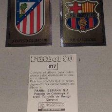 Colecionismo Cromos antigos: CROMO FUTBOL 90 ESCUDO PLATEADO ATLETICO MADRID SIN PEGAR. Lote 290460638