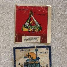 Coleccionismo Cromos antiguos: 2 ENVOLTORIOS CROMOS CARAMELO FALLERO VALENCIA. Lote 293419643