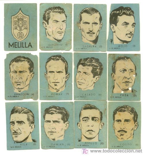 12 CROMOS FUTBOL - U.D. MELILLA - AÑO 1951..........COMPLETO (Coleccionismo Deportivo - Álbumes y Cromos de Deportes - Cromos de Fútbol)