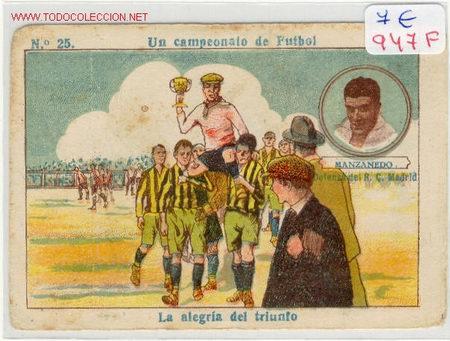 FUTBOL MANZANEDO DEL R.C.MADRID AÑOS 20 (Coleccionismo Deportivo - Álbumes y Cromos de Deportes - Cromos de Fútbol)